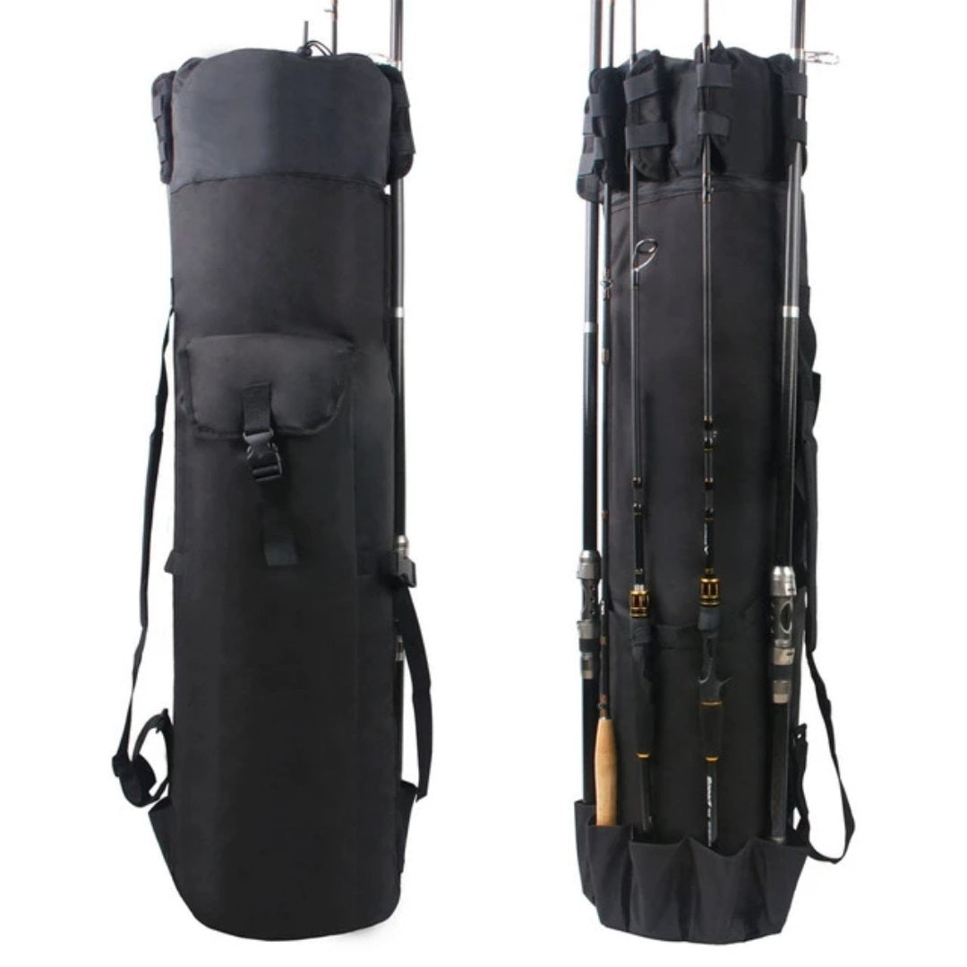 Large Portable Fishing Rod & Tackle Bag - BLACK - Novel Buys