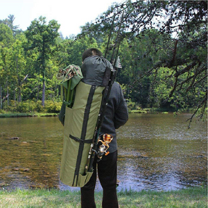Large Portable Fishing Rod & Tackle Bag - GREEN - Novel Buys