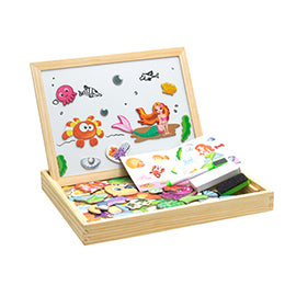 100+PCS Wooden Magnetic Puzzle Drawing Board