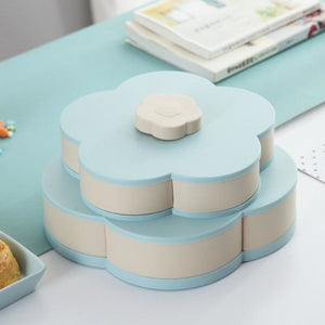 Rotating Flower Shaped Food Storage Tray - BLUE - Novel Buys