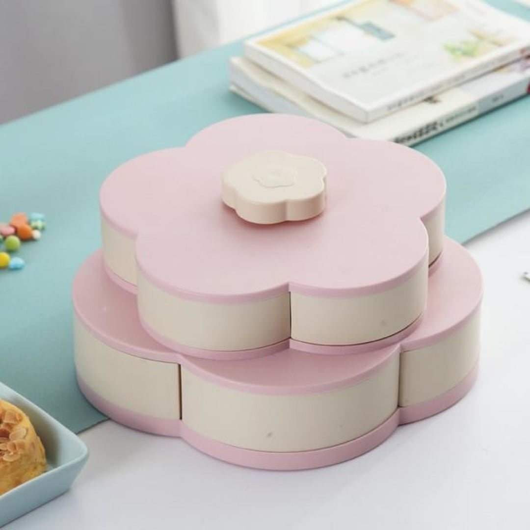 Rotating Flower Shaped Food Storage Tray - PINK - Novel Buys