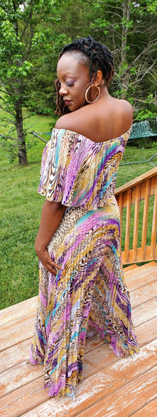 Off-Shoulder Printed Maxi