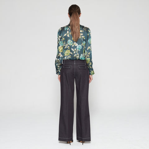 26a449a37e7 Ocean Green Floral Silk Blouse - Donohoe Sharman