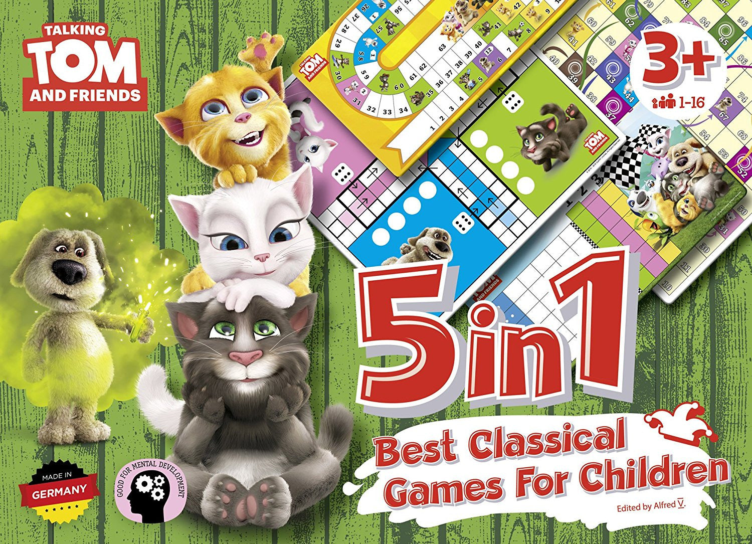 5 in 1 Best Classical Games For Children, Talking Tom and Friends Tabletop Games