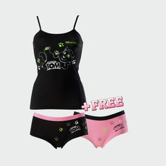 Cute Pink and Black Ladies Underwear Set