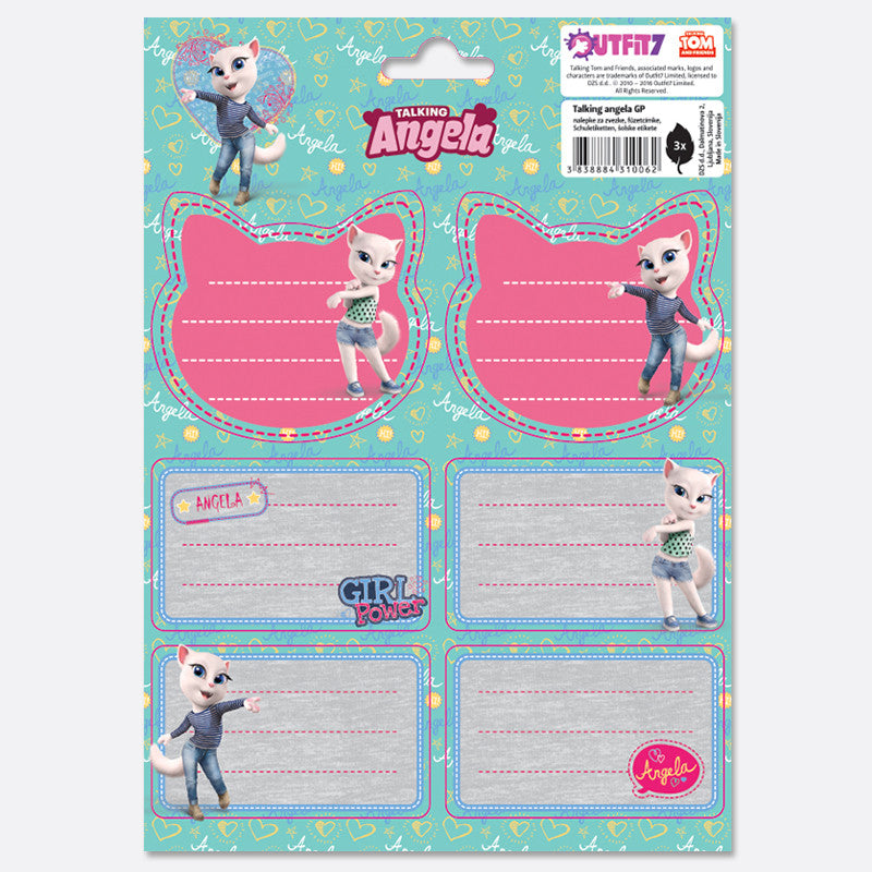 Talking Angela Notebook Labels - Kids Girl Power