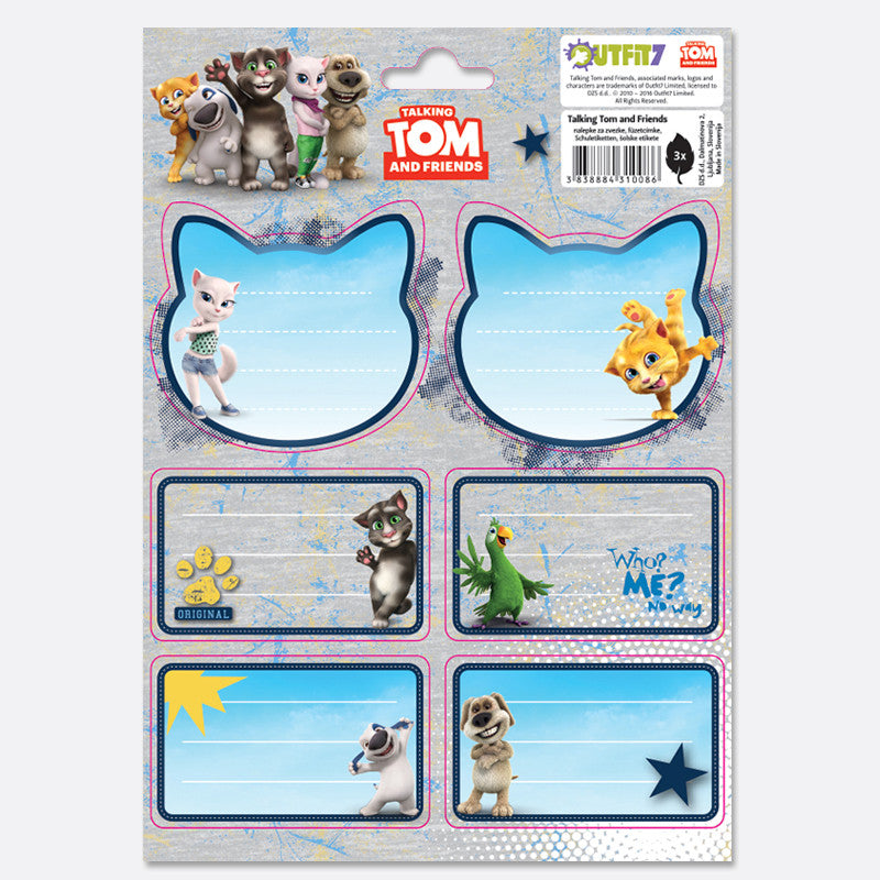 Talking Tom Notebook Labels, Kids Get Crazy