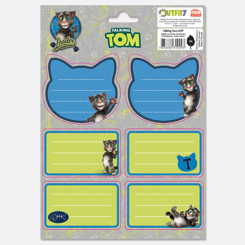 Talking Tom Notebook Labels - Kids Leader of the Pack