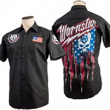Wornstar Apparel Rock Clothing Strikeforce Skull Flag Work Shirt  * Strike Force