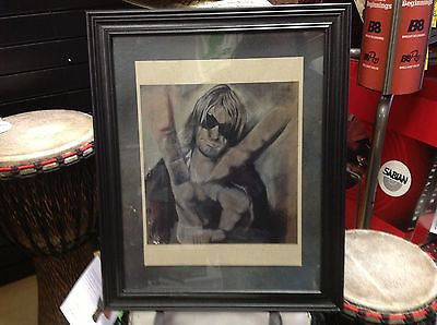 Simply Wicked Art Charcoal Drawing Framed Collectable - Kurt Cobain of Nirvana