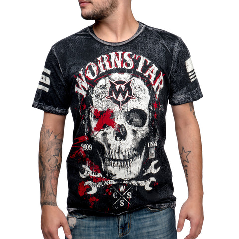 Wornstar Apparel Rock Clothing Skull Death Mechanic T Shirt
