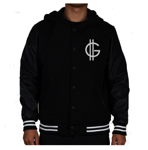 GREATER GOOD HOODED VARSITY JACKET
