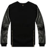 LEATHER SLEEVE ZIP CREWNECK