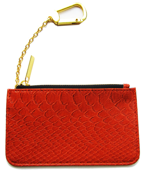 RED SNAKESKIN COIN POUCH