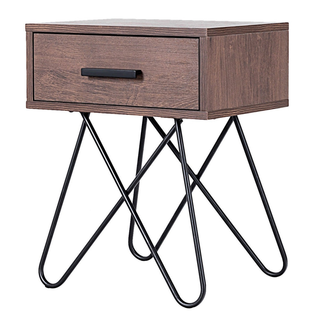 Nightstand Side Table Storage Display With Steel Legs And 1 Drawer