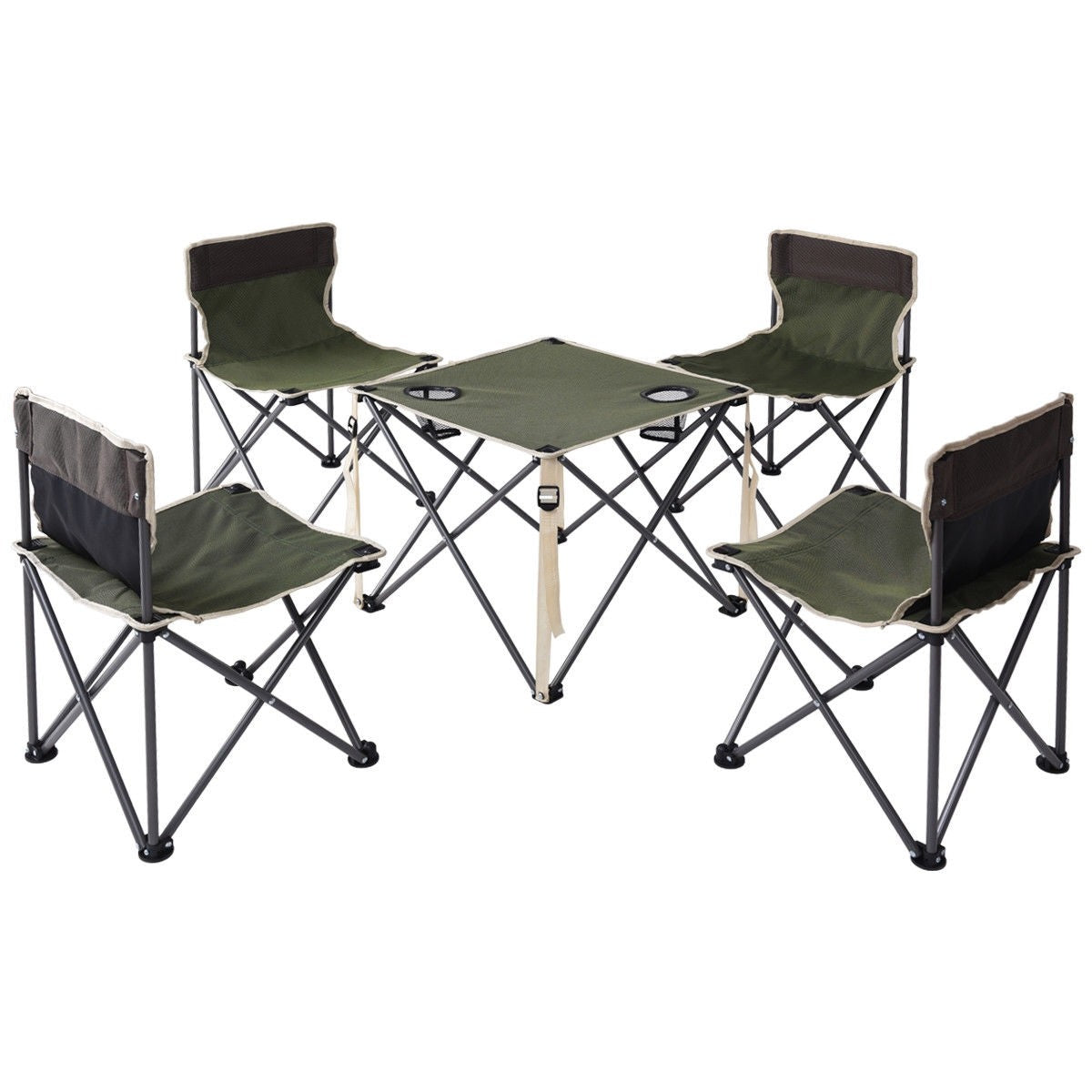 - Outdoor Camp Portable Folding Table Chairs Set W/ Carrying Bag