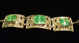Emerald Green Dichroic Glass Bracelet