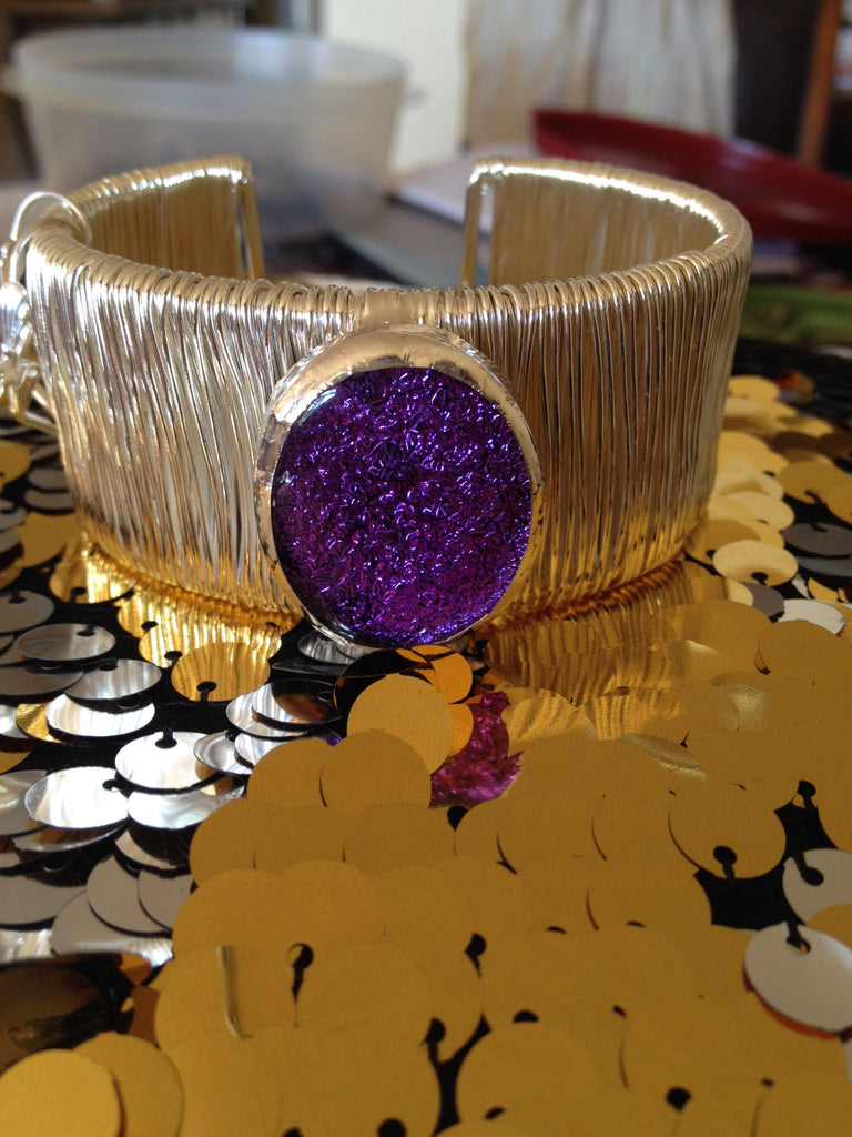 Purple Dichroic Glass Cuff Bracelet