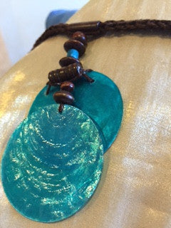 Macrame Necklace with Iridescent Blue Shell