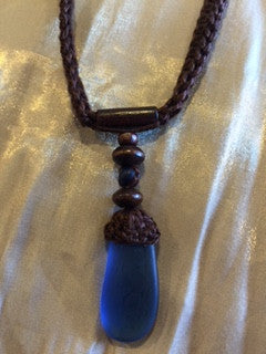 Macrame Necklace with Sea Glass Drop in Ocean Blue