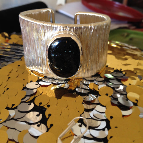 Black Sparkle Dichroic Glass Cuff Bracelet