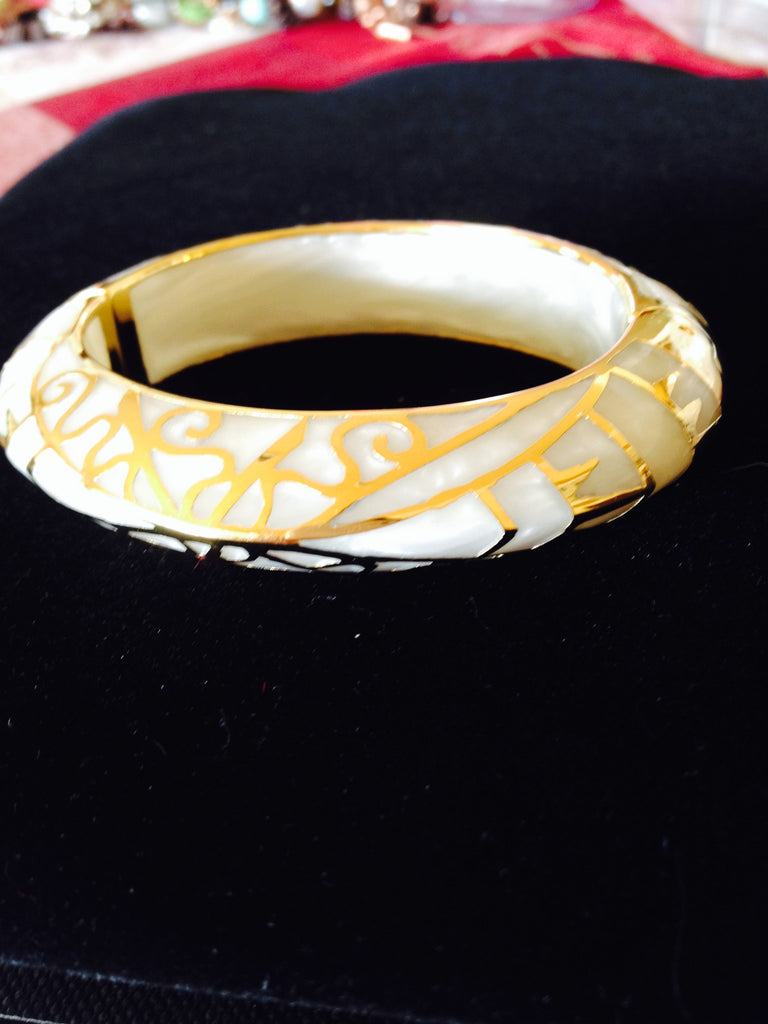 Mother of Pearl Bangle with 18K Gold