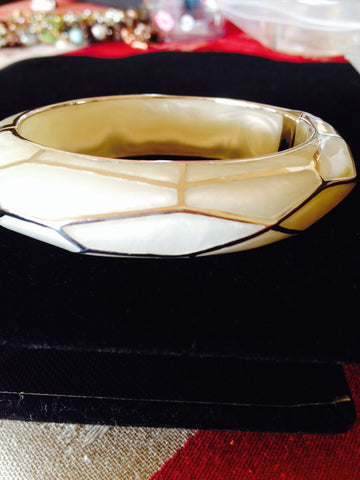 Mother of Pearl Wall Bangle with Silver Mosaic