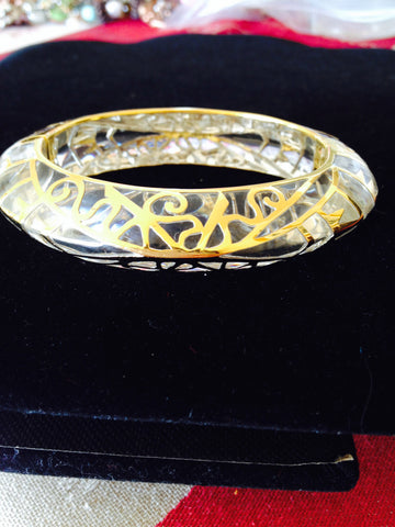 Clear Edge Bangle with 18K Gold