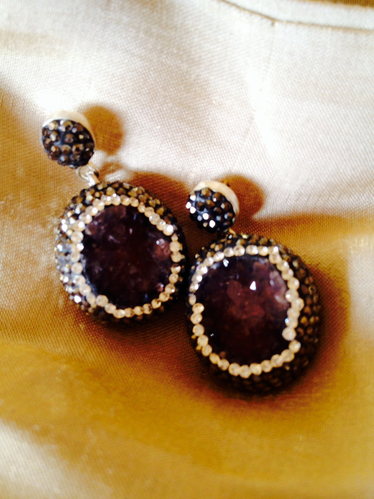 Soft Amethesyst Post Earrings with Hemitite and Swarovski Crystal