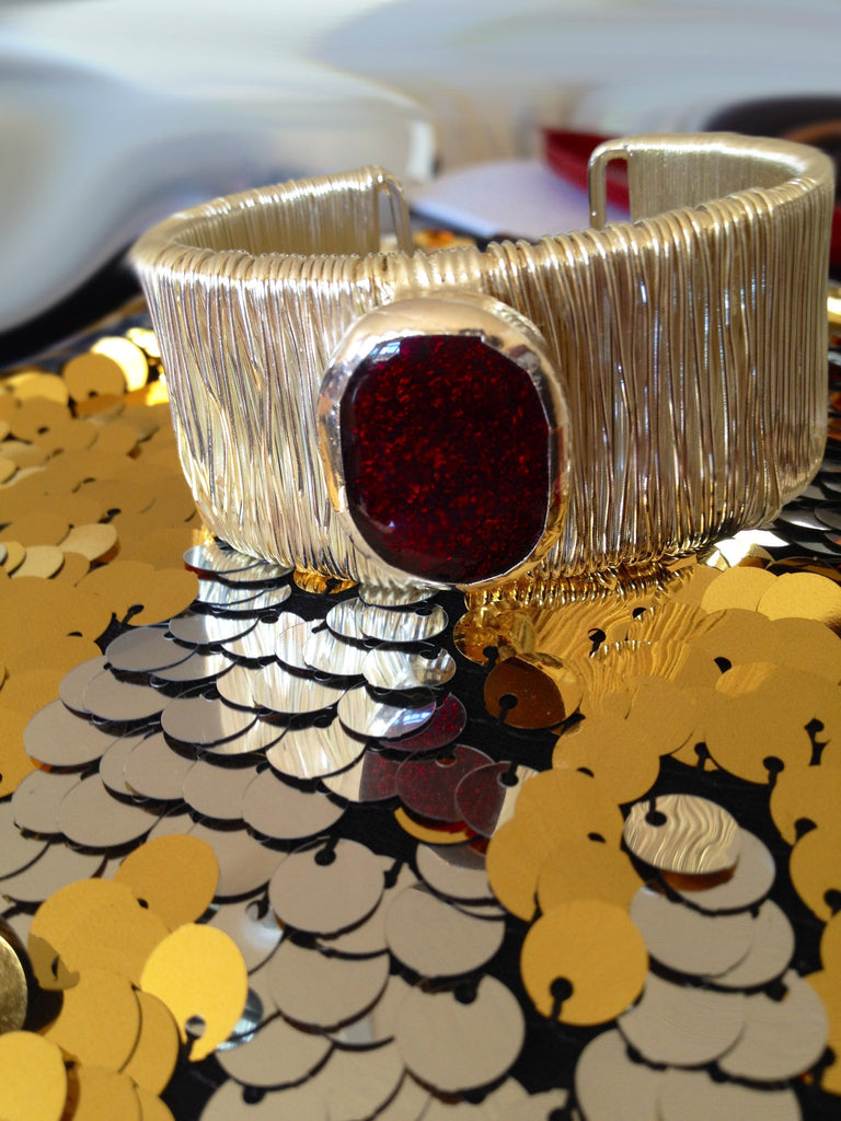 Ruby Red Dichroic Glass Bracelet
