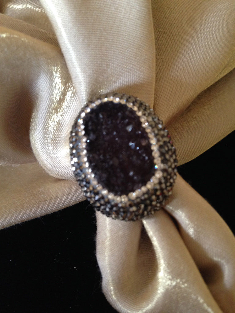 Deep Amethyst Ring with Hematite and Clear Swarovski Crystals