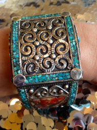 Silver Turquoise and Coral Exotic Bracelet