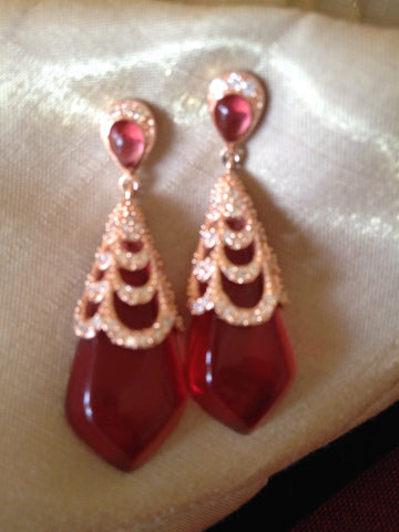 18K Pink Gold Teardrop Earring