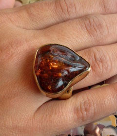 Golden Amber Ring