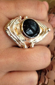 Black Diamond Shape Dichroic Glass RIng