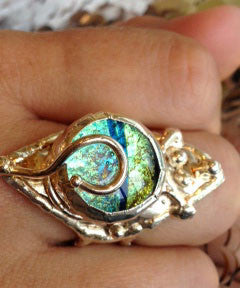 Diamond Shape Dichroic Glass Ring