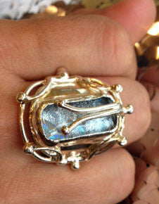 Crisp White Dichroic Glass Ring