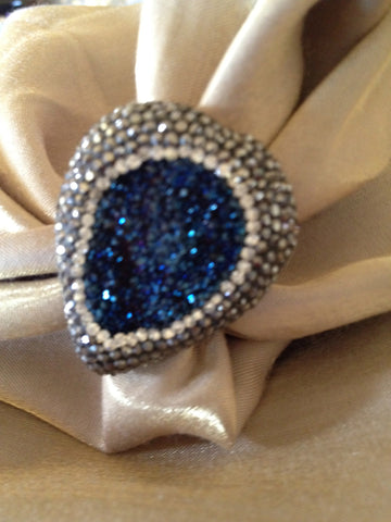Druzy and Swarovski Crystal Ring