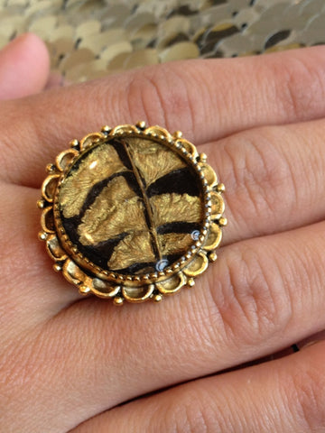 Black and Gold Botanical Ring