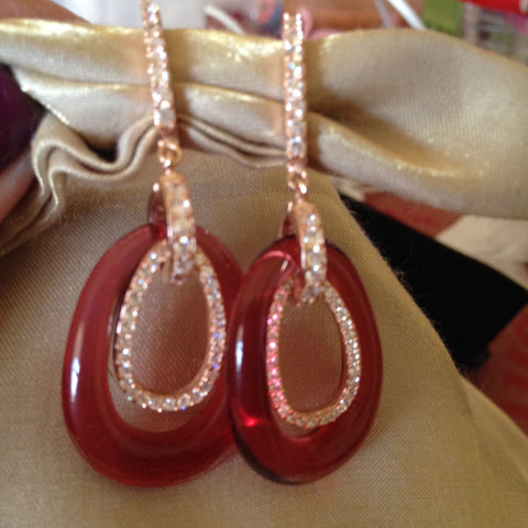 18K Pink Gold Ruby Fano Earrings