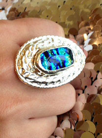 Silver Dichroic Glass Statement Ring