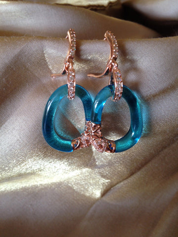 18K Pink Gold Blue Topaz Palermo Earrings