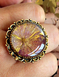 Lavender and Gold Botanical Collage Ring