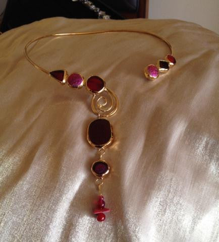 Ruby Red Dichroic Glass Collar