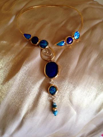 Royal Blue Dichroic Glass Collar