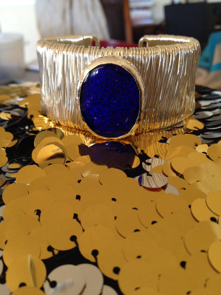 Deep Blue Dichroic Glass Cuff