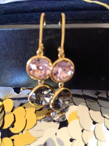 14K Gold Purple and Black Crystal Earrings