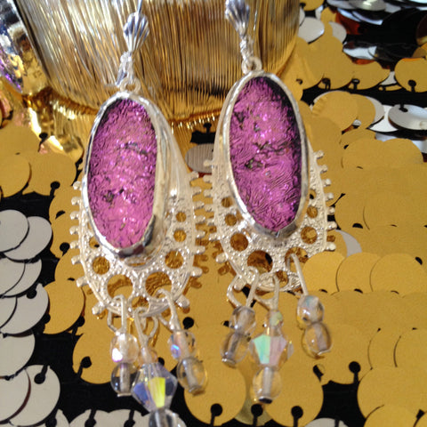 Pink Dichroic Glass Dangle Earring