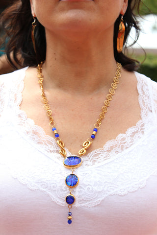 Gold and Cobalt Necklace