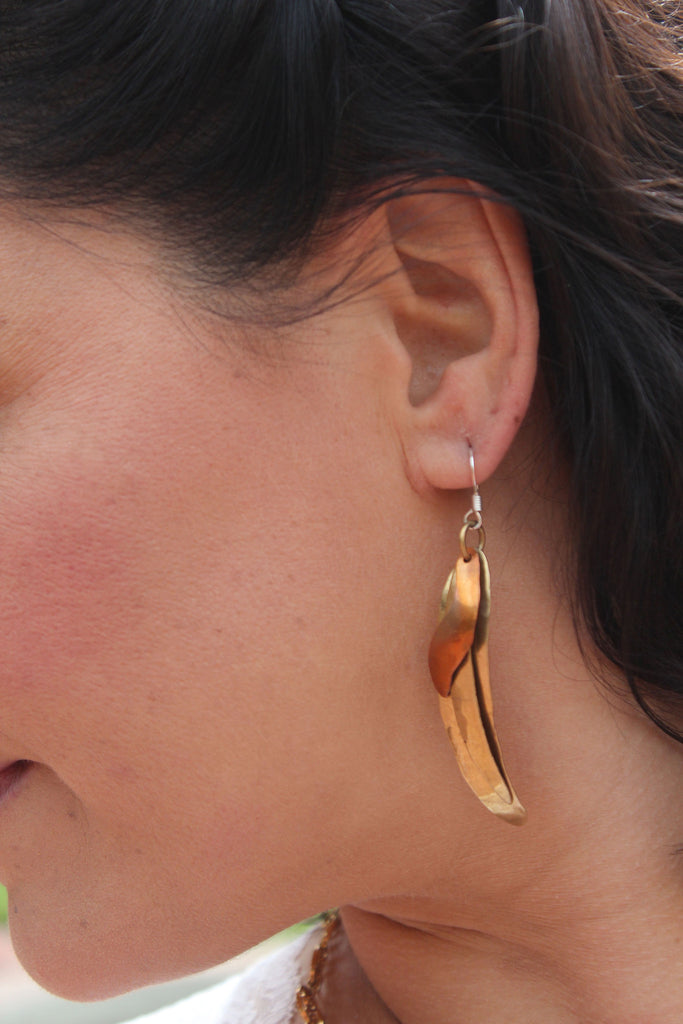 Hammered Brass and Copper Earrings